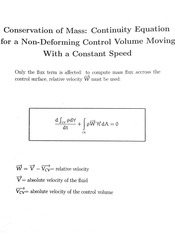 Conservation of Mass - Continuity Equation