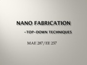 Nano Science (Lec3 To-Down Nanofabrication)