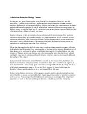 Admissions Essay for Biology Course