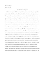 Aristotle's Function Argument- Paper One