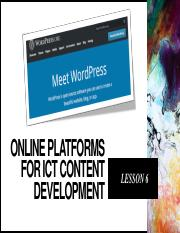 Lesson 6 Online Platforms For Ict Content Development Pdf Online Platforms For Ict Content Development Lesson 6 What Is An Online Platform Course Hero