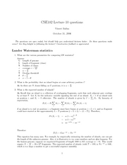 Lecture 10 questions