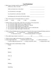 Coal Worksheet