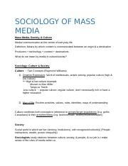 SOCIOLOGY OF MASS MEDIA.docx