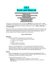 EASC 10 Rocks and Minerals Identification