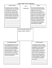 Human Organ Systems Worksheet.rtf