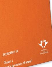 CHAPTER 1 - What is Economics all about
