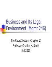 Mgmt 246--F15 Court System and Lawsuit (1).ppt