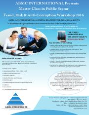 Master Class in Public Sector Fraud, Risk and Anti-Corruption Management - February 2016 (1)
