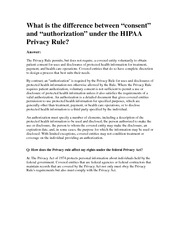 HIPAA consent and authorization