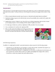 Addressing Disruptive and Noncompliant Behaviors (Part 2) Behavioral Interventions Assessment.docx