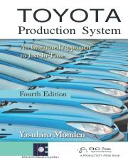 Toyota Production System An Integrated Approach to Just In Time Yasuhiro Monden Fourth Edition 2015