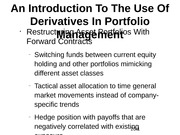 An Introduction To The Use Of Derivatives In