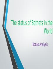The status of Botnets in the World