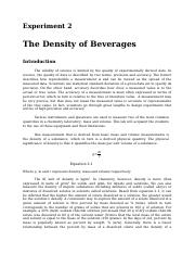 Experiment 2. Density of Beverages.docx