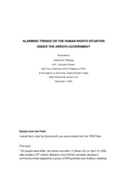 Alarming trends of Human Rights Violation under the Arroyo Administration by Aurora Parong