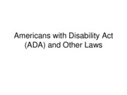 SPTE 203 Americans with Disability Act (ADA) and Other Laws