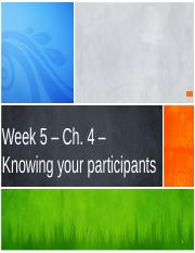 Week 5 - Chapter Four  - Knowing your participants.pptx