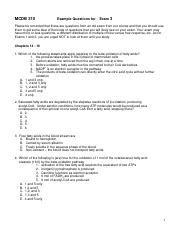 Exam 3 Example Questions- Chap 14 - 17