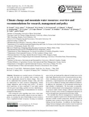 2011_Viviroli_Hydrol. Earth Syst. Sci._Climate change and mountain water resources- overview and rec