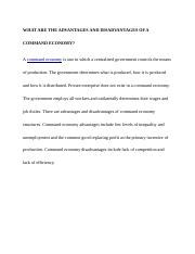 WHAT ARE THE ADVANTAGES AND DISADVANTAGES OF A COMMAND ECONOMY.docx