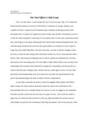 Nazi Officer's Wife Essay