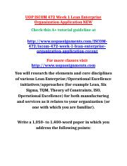 UOP ISCOM 472 Week 1 Lean Enterprise Organization Application NEW.docx