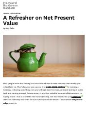 A Refresher on Net Present Value - HBR