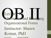 OB II S2014 - Lecture 11 - Alternative and Emerging Organizational Forms