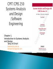 CPIS-250 Chapter1 Introduction to Systems Analysis and Design
