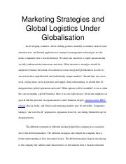 Marketing Strategies and Global Logistics Under Globalisation.docx