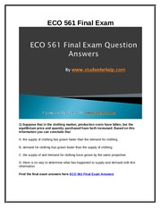 ECO 561 Final Exam Latest UOP Final Exam Questions With Answers