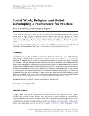Social Work, Religion and Belief Developing a Framework for Practice.