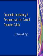 Add End Week Nine and Week Ten Winding Up and Corporate Insolvency and GFC Responses