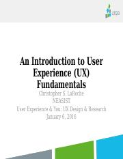 Simmons Intro To Ux Jan16 An Introduction To User Experience Ux Fundamentals Christopher S Laroche Neasist User Experience You Ux Design Research Course Hero