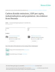 Carbon dioxide emissions, GDP per capita, industrialization and population An evidence from Rwanda.p