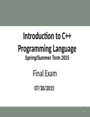 CSC 2000 Final Exam Review (Spring-Summer 2015).ppt