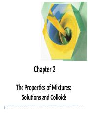 Chem 11 Chap 2 Properties of Mixtures