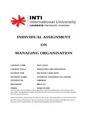 Managing Organisation - Individual Assignment.docx