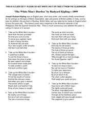 analytical paper of white man s burden Worksheet - art, commentary, and evidence: analysis of the white man's burden part i: read the poem the white man's burden by rudyard kipling and answer the following questions.