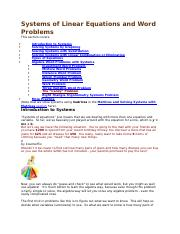 Systems of  Linear and Non-Linear Equations and Word Problems