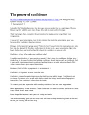 The Power Of Confidence