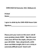 Midterm# 1 CHEN 4520 2011 Solution