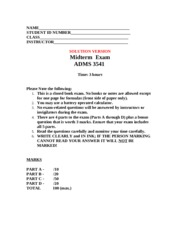3541A S2013 Mid-Term Practice Exam,  SOLUTION, REV