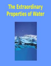The Extraordinary Properties of Water Notes