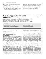 Proctor et al (2002) Psychology - Experimental Methods