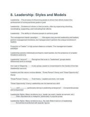 8. Leadership- Styles and Models