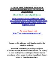 SPED 500 Week 3 Individual Assignment Individuals with Disabilities Education Act Litigation NEW.doc