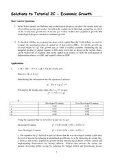 Solutions to Tutorial 2C - Economic Growth Revised