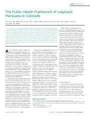 Sage - The Public Health Framework of Legalized Marijuana in Colorado